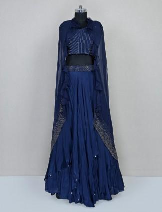 Blue jacket style lehenga choli design in georgette