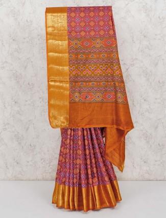 Blue patola printed cotton silk saree