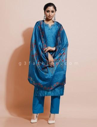 Blue printed cotton silk festive kurti set