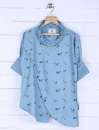 Blue printed slim fit cotton kurta suit