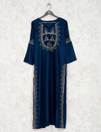 Blue satin silk kurti in festive wear
