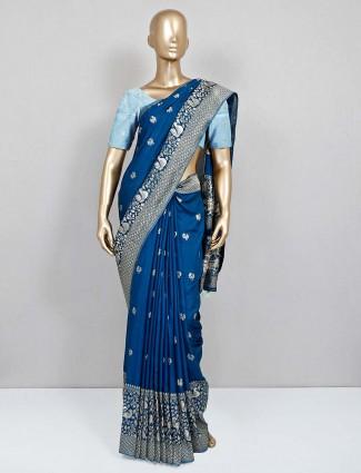 Blue semi silk party wear sari