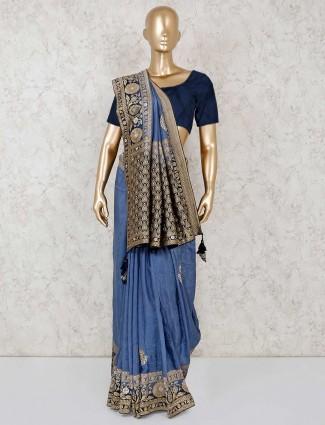 Blue silk festive look saree