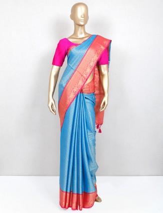 Blue south silk festive exclusive saree