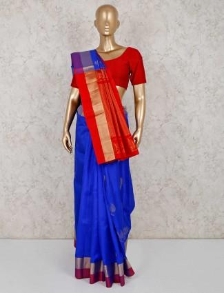Blue south silk festive saree