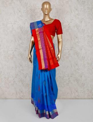 Blue south silk saree for festive