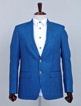Blue terry rayon notch lapel collar blazer