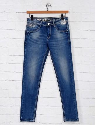Blue washed denim jeans for mens