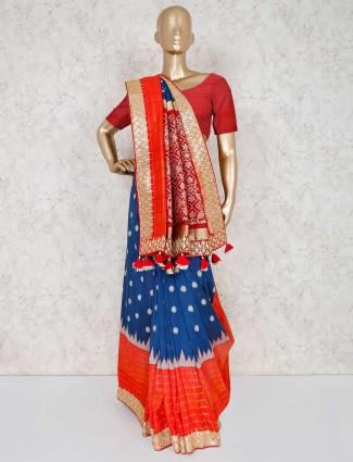 Blue wedding wear patola silk saree