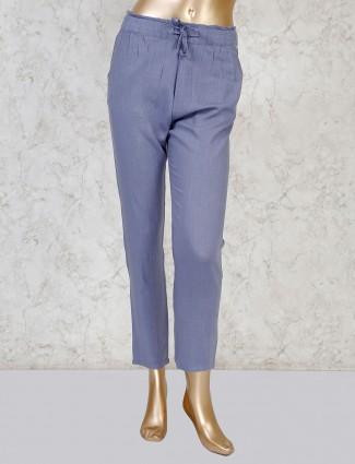 Boom light grey linen solid pant