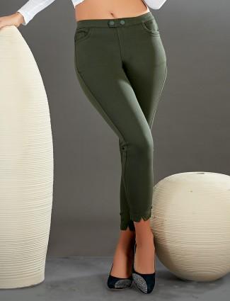 Boom olive green jeggings for women