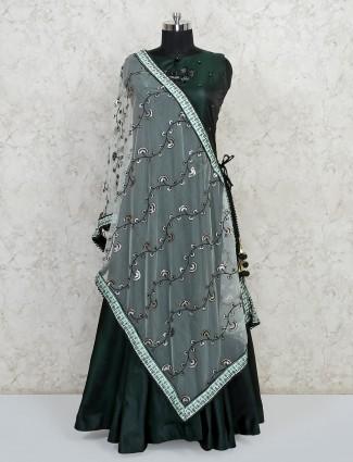 Bottle green colour cotton silk anarkali suit