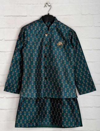 Bottle green cotton silk waistcoat set