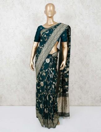 Bottle green munga silk saree for festivals