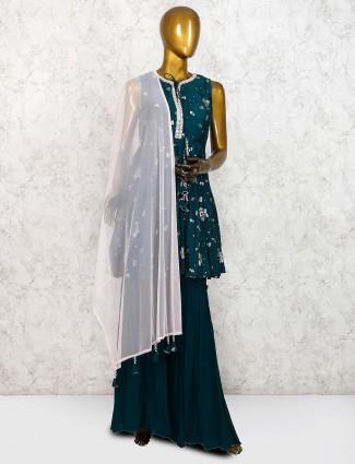 Bottle green raw silk fabric lovely punjabi sharara suit