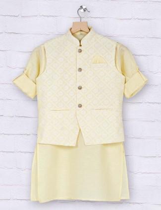 Boys lemon yellow cotton waistcoat set
