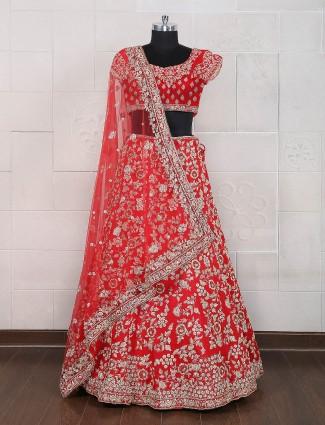 Bridal red semi stitched lehenga choli