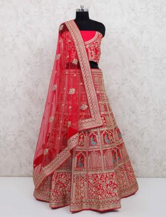 Bridal wear pink silk semi stitched choli suit
