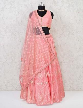 Bright pink cotton silk sweetheart neck lehenga choli