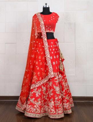 Bright red bridal semi stitched lehenga choli
