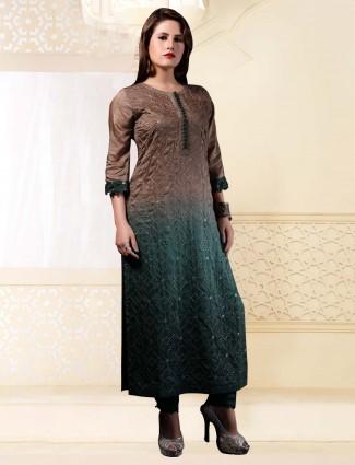 Brown and green cotton silk long kurti