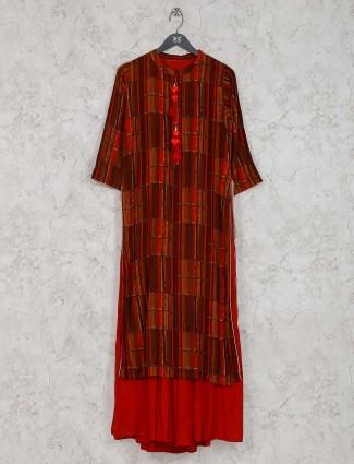 Brown and rust orange cotton fabric kurti