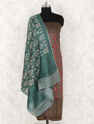 Brown color cotton fabric punjabi unstitched dress material