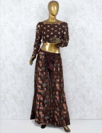 Brown color cotton silk fabric punjabi salwar suit