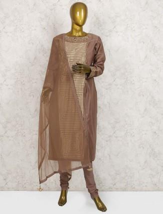 Brown color cotton silk punjabi salwar suit