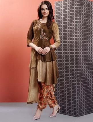 Brown color designer salwar suit in cotton