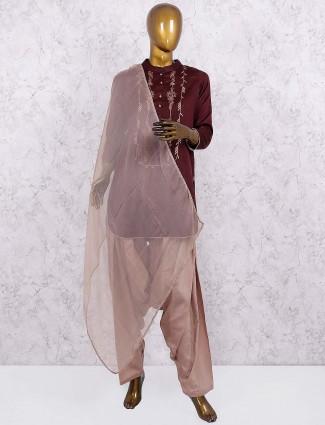 Brown color punjabi salwar suit in cotton silk