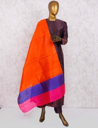 Brown color raw silk punjabi salwar suit