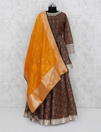Brown colored cotton fabric peplum style lehenga choli