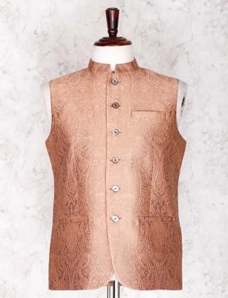 Brown cotoon silk waist coat for mens