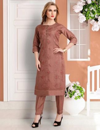 Brown cotton silk festive punjabi dress