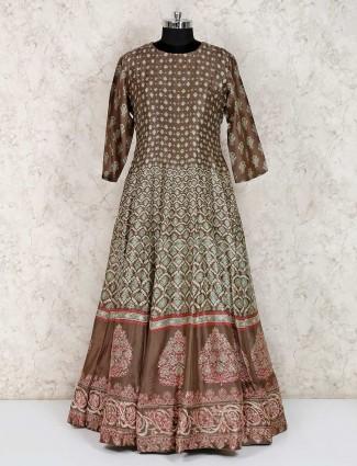 Brown cotton silk festive wear anarkali suit