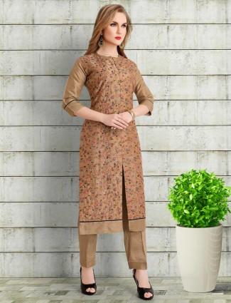 Brown cotton silk round neck punjabi pant suit