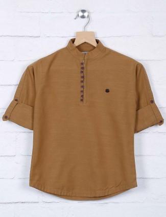 Brown hue cotton full sleeves shirt