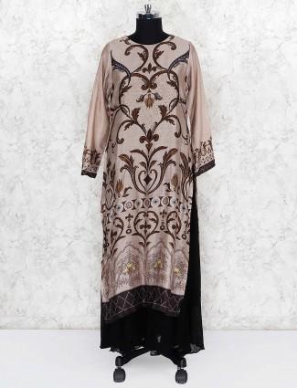 Brown hue cotton silk double layer salwar suit