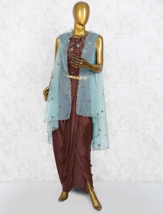 Brown hue jacket style raw silk dhoti suit