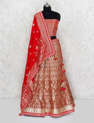Brown hue semi stitched wedding wear silk fabric lehenga choli