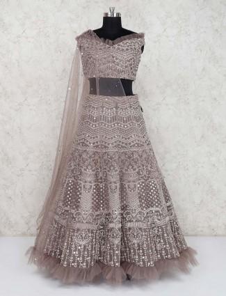 Brown net designer wedding wear lehenga choli