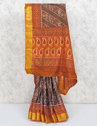 Brown patola printed cotton silk saree