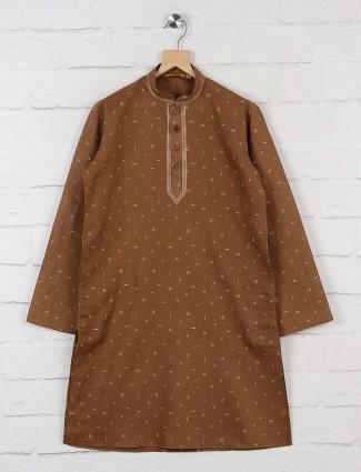Brown printed pattern boys kurta suit