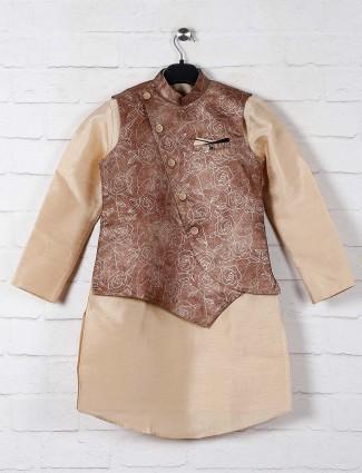 Brown printed raw silk waistcoat set for boys