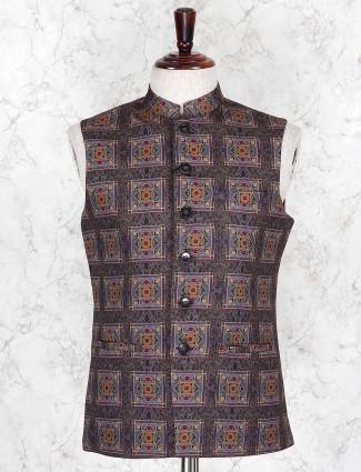 Brown printed terry rayon fabric waistcoat