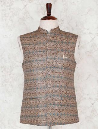 Brown printed terry rayon waistcoat