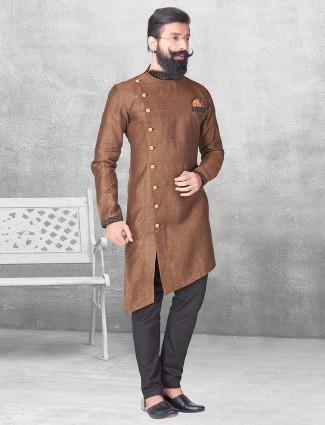 Brown silk kurta suit for festive function