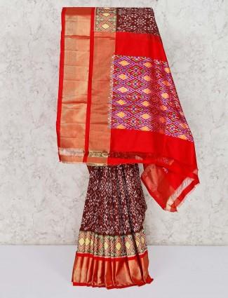 Brown wedding wear patola silk saree