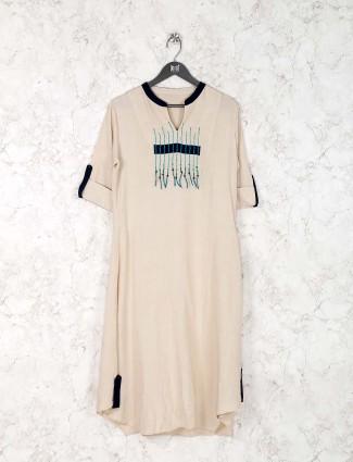 Casual wear beige color cotton fabric kurti